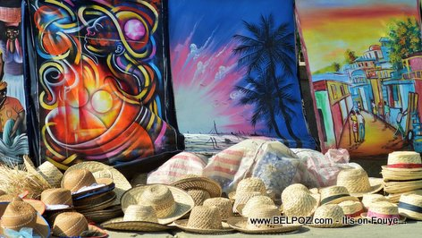 PHOTO: Haiti CARIFESTA - Hats and Arts for Sale