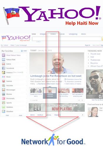 Yahoo Help Haiti Now logo