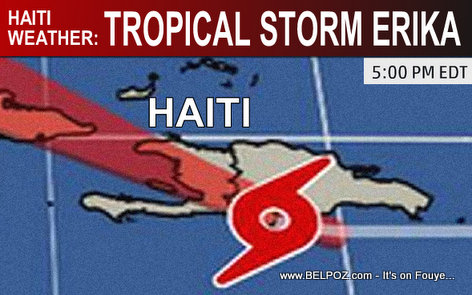 Haiti Weather Update - Tropical Storm Erika Location 5pm EDT