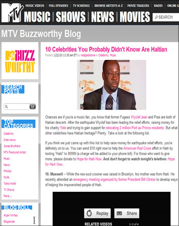 MTV list of Celebrities of Haitian Descent