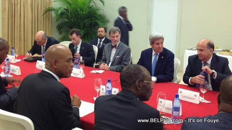 PHOTO: Haiti - US Secretary of State KERRY in a Meeting with President Martelly, PM Paul et al.
