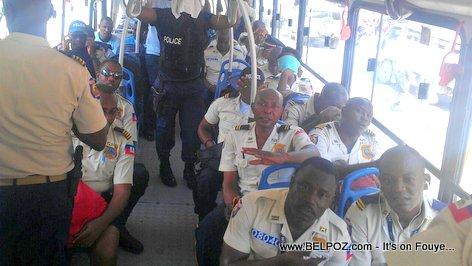 PHOTO: Haiti Police - Bus loaded with Haitian police officers