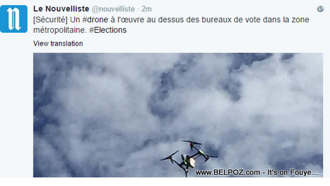 PHOTO: Haiti Elections - Surveillance Drone spotted by Le Nouvelliste Hovering over a Voting Center