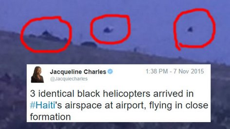 PHOTO: Haiti Alert - 3 identical black helicopters in Haiti airspace flying in close formation