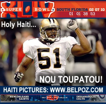 Super Bowl 44 - Jonathan Vilma Represents Haiti