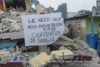 Haiti Earthquake SOS sign