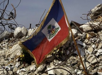 Earthquake in Haiti - Haitian Flag - Collapsed University