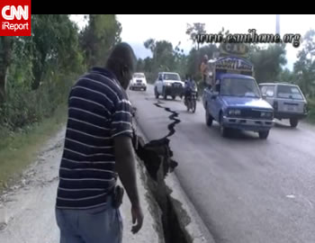Haiti Earthquake - Highway in Leogane Split open