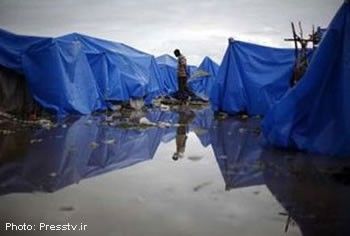Haiti - Flooded Tent City After The Rain