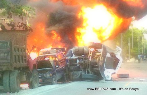 PHOTO: Haiti Gas Tanker Explosion in Leogane, Route National 2