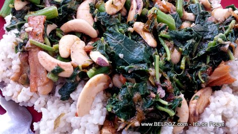 Haiti Cuisine: Millet, Spinach, almonds and Cod Fish, Bon Manje Creole