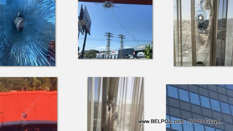 PHOTO: Bullet Holes - Shots Fired at Natcom, Digicel, Marriott Hotel