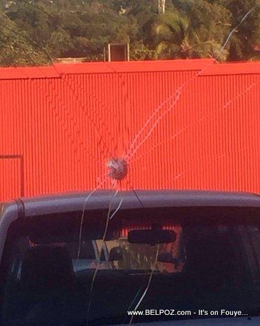 PHOTO: Bullet Holes - Shots Fired at Natcom, Digicel, Marriott Hotel
