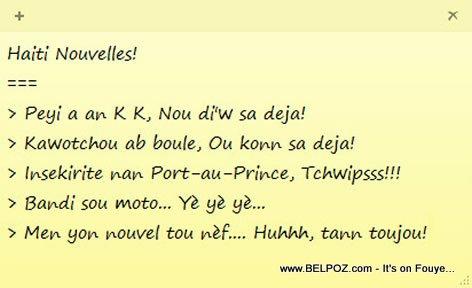 Haiti Nouvelles - Peyi a an K K... Nou mele...