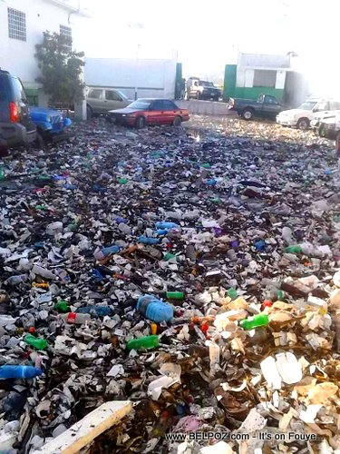 PHOTO: Haiti - Hospital Chancerelle Parking Lot Covered in Trash after the Rain