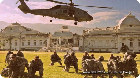US Soldiers on the grounds of Haiti's National Palace