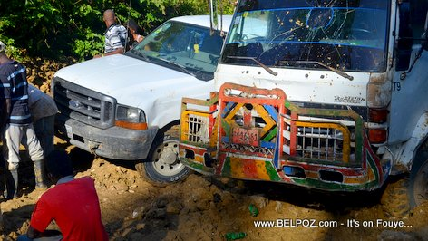 PHOTO: Driving in Haiti - 2 Trucks Stuck in the Muddy Roads of Savannette, Centre Haiti