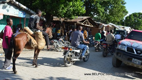 PHOTO: Haiti - Traffic nan ville Hinche - Cheval Moto Machine