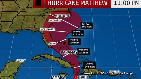 PHOTO: Hurricane Matthew Trajectory Haiti to Florida