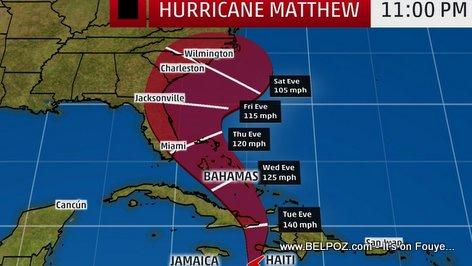 PHOTO: Hurricane Matthew Trajectory Haiti to Florida