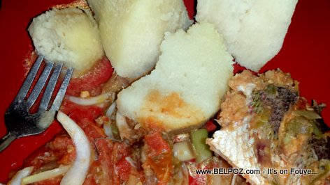 PHOTO: Haitian Food - Yanm ak Poisson (Yam served with Fish)