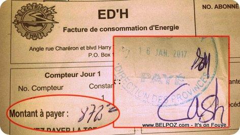 EDH - Electricité d'Haiti - Facture de Consommation d'Energie