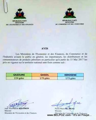 AVIS : Haiti - Nouveaux prix des carburants a la pompe qui entreront en vigueur a compter de lundi 15 mai 2017.