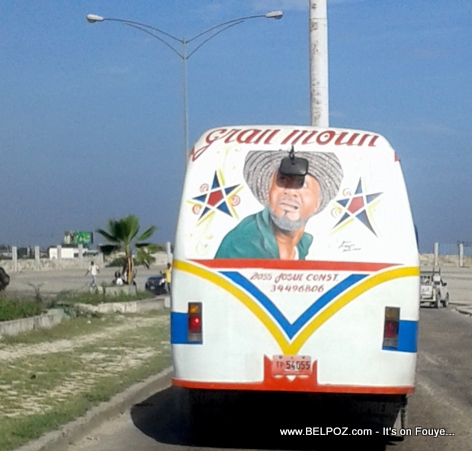 PHOTO: Haiti Transport Bus with Tonton Bicha Portrait on the Back