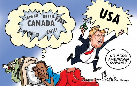PHOTO : Haiti Caricature : Trump says No more American Dream for young Haitians