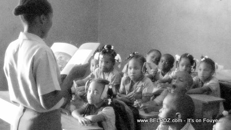 PHOTO: Teaching in Haiti - A Haitian school teacher teaching a in a classroom