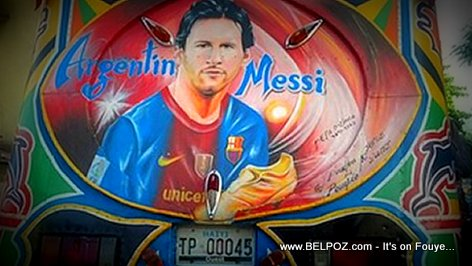Portrait of Lionel Messi on the back of a Haitian Tap-Tap
