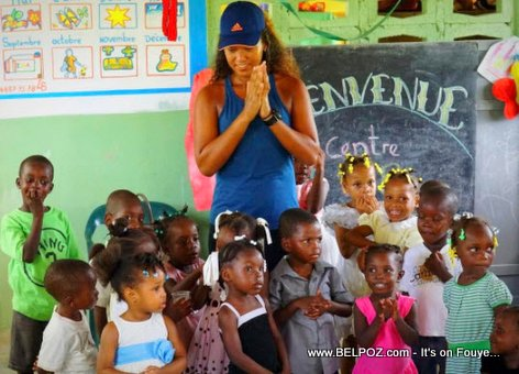 Haitian-Japanese Tennis Player Naomi Osaka in Haiti visiting a Kindergarten her Haitian father built long ago