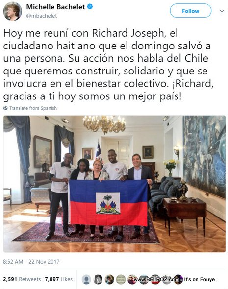 PHOTO: Chile President meets Richard Joseph, the Haitian Hero who saved a woman