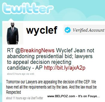 wyclef twitter message - appeal CEP decision