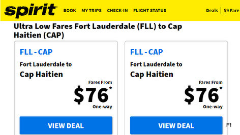 Spirit Airlines Ultra Low Fares Fort Lauderdale (FLL) to Cap Haitien (CAP)