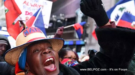 Haitian woman shouting during a street protest in New York City