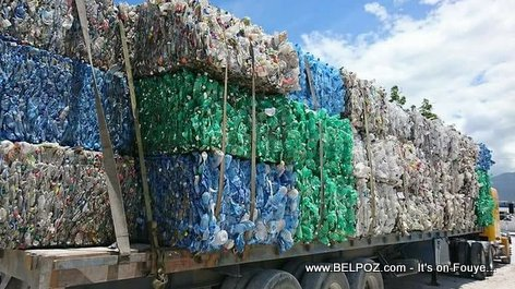 Trailer load of recycled plastic bottles from Haiti returned by the Dominican Republic