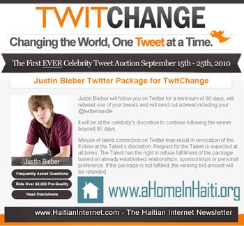 Justin Beiber Twithange Auction For Haiti