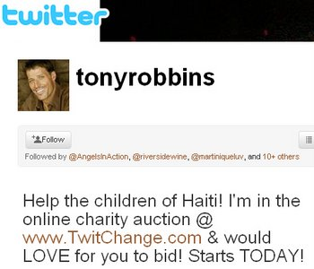 Anthony Robbins Tweets for Haiti