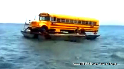 Believe it or Not! - Haiti : A School Bus being transported in the Ocean on two tiny boats (VIDEO)
