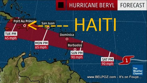 Hurricane Beryl - Haiti Forecast Map