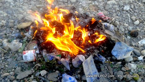 PHOTO: How Haitians get rid of trash, they burn it, plastic, styrofoam, whatever