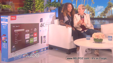 Look... Naomi Osaka gets a brand new 65-inch 4K TV from Ellen - The Ellen DeGeneres Show