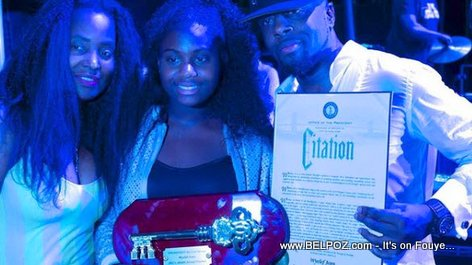 Wyclef Jean, his wife Claudinette and daughter Angelina -  Wyclef gets key to the City of Brooklyn