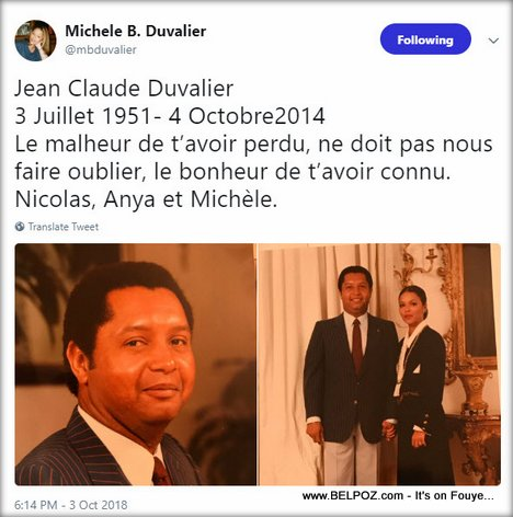 Michele Bennett Tweet on the anniversary date of Jean Claude Duvalier's death