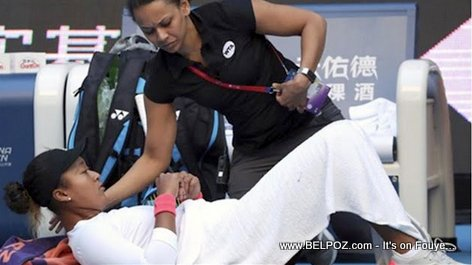 PHOTO: Naomi Osaka receiving medical treatment during a set break at the 2018 China Open Semifinals