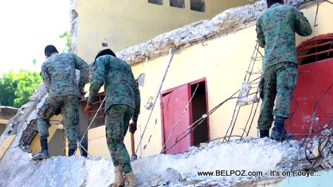 PHOTO: The New Haitian Army Corps of Engineers at work after the Port-de-Paix Haiti Earthquake