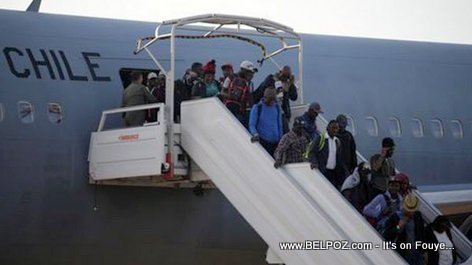 PHOTO: Chilean Airforce plane returning Haitian migrants to Haiti