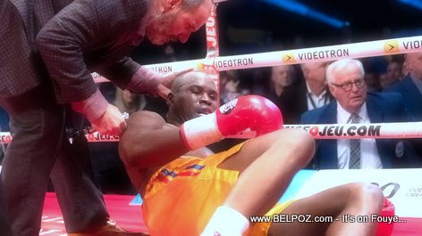 PHOTO: Haitian Boxer Adonis Stevenson after a knockout punch from Oleksandr Gvozdyk
