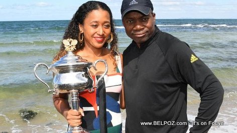 Naomi Osaka, her Haitian Father and her Australian Open championship Trophy